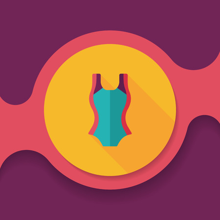 bikini top: swimming suit flat icon with long shadow,