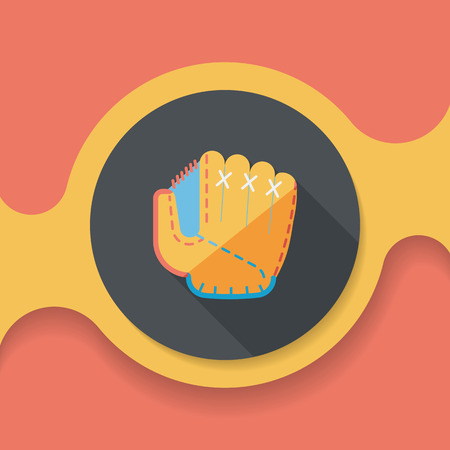 pincher: baseball glove flat icon with long shadow, Illustration