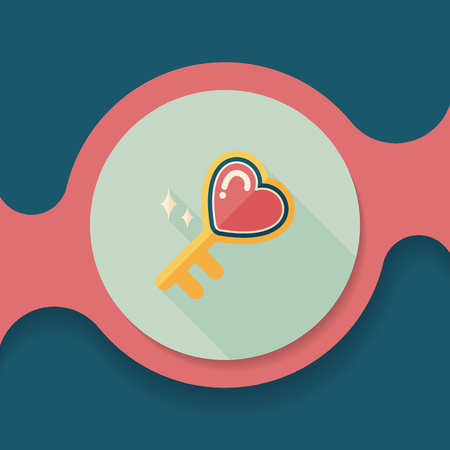 key in lock: Valentines Day lover key lock flat icon with long shadow,