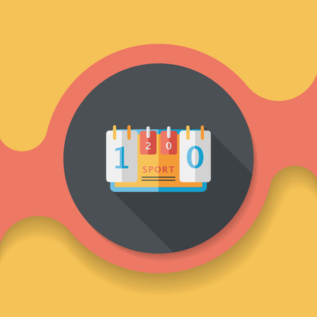 time remaining: scoreboard flat icon with long shadow,