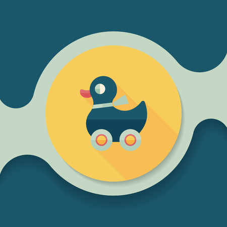 duck toy: duck toy flat icon with long shadow, Illustration