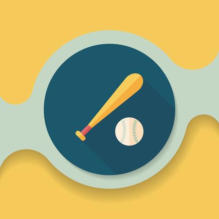 sporting equipment: baseball flat icon with long shadow, Illustration