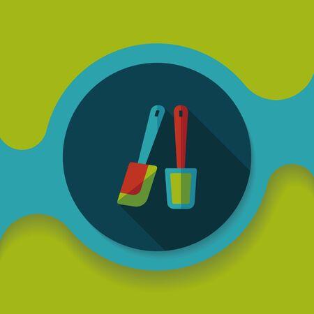 beater: utensilios de cocina batidor icono plana con larga sombra, Vectores