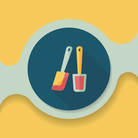 beater: icono plana batidor de cocina con una larga sombra, eps10