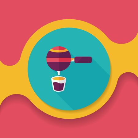 grinding: grinding coffee machine flat icon with long shadow,eps10