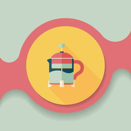 teakettle: tea pot flat icon with long shadow,eps10