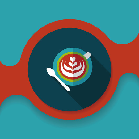 latte: coffee latte art flat icon with long shadow,eps10