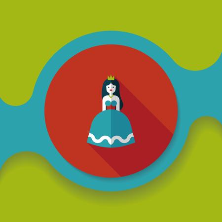 nude girl: Princess flat icon with long shadow Illustration