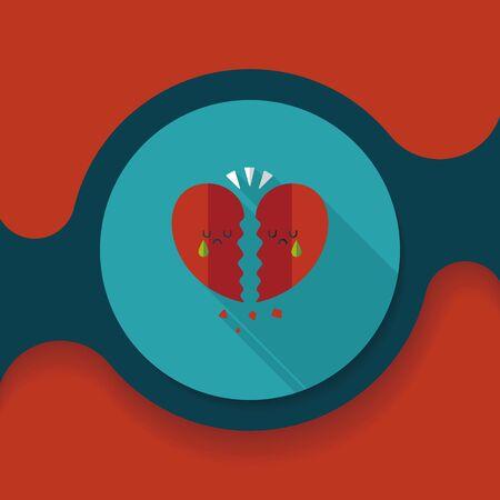 corazon roto: D�a roto icono plana coraz�n de San Valent�n con una larga sombra, eps10