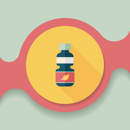 recycled: Environmental protection concept flat icon with long shadow,eps10; Recycled water bottle