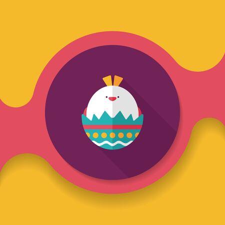 huevo caricatura: icono plana huevo de Pascua con una larga sombra, eps10