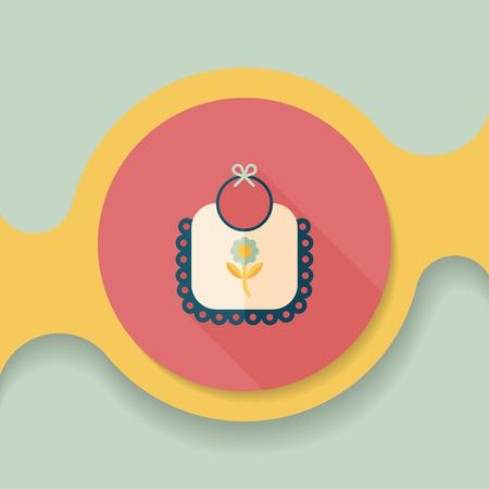 bavaglino icona piatto con una lunga ombra, EPS 10