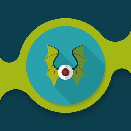 devil ray: eye with bat wings flat icon with long shadow,eps10