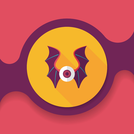 dusky: eye with bat wings flat icon with long shadow,eps10