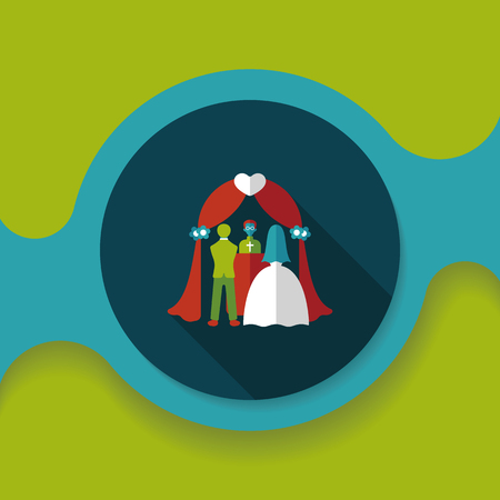 wedding tent: wedding ceremony flat icon with long shadow,eps10