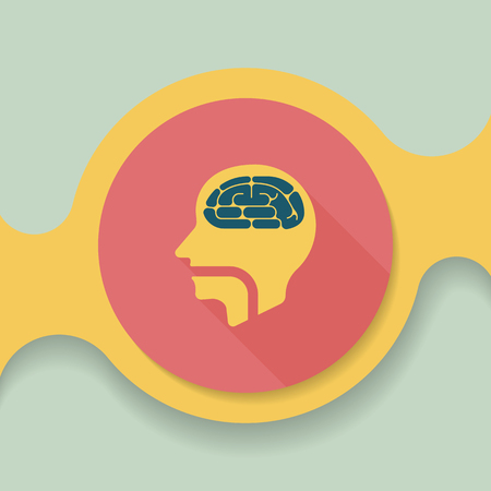 comprehension: brain flat icon with long shadow