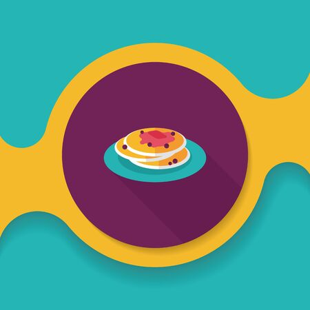 pancake flat icon with long shadow,eps10 Vector Illustration
