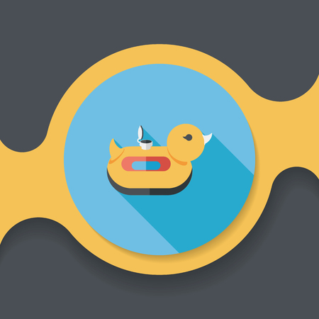ring buoy: duck  Swim ring flat icon with long shadow,eps10