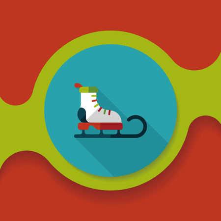 santas sleigh: Santas sleigh flat icon with long shadow eps10