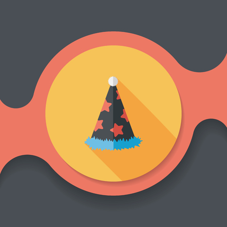 party hat: birthday party hat flat icon with long shadow,eps10