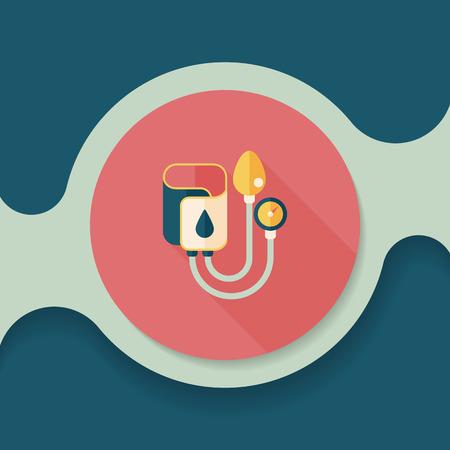 healer: Sphygmomanometer flat icon with long shadow