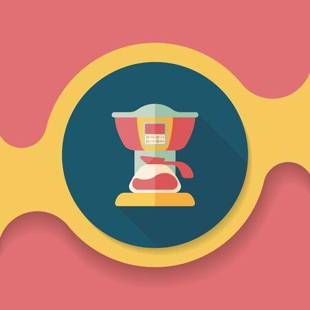 coffee machines: coffee machine flat icon with long shadow,eps10
