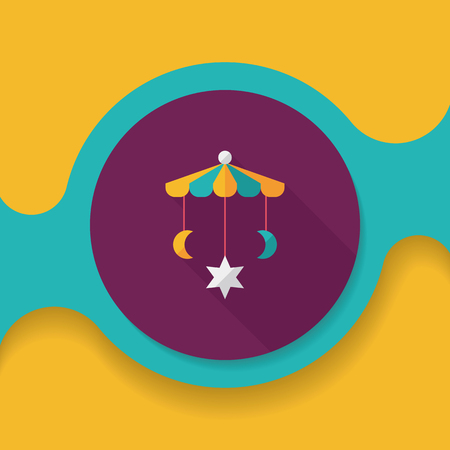 baby crib: Baby crib hanging toy flat icon with long shadow,EPS 10 Illustration