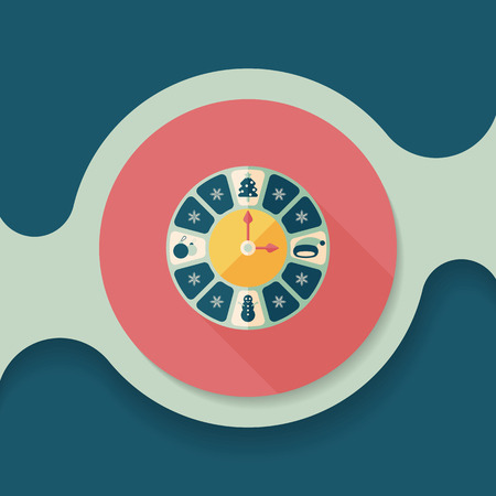 Christmas style clock flat icon with long shadow eps10 Illustration