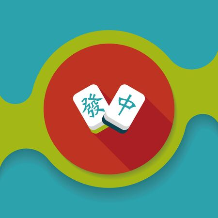 palying: Chinese New Year flat icon icon with long shadow, Chinese mahjong