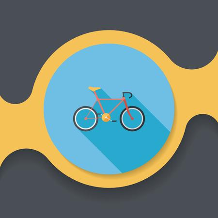 El transporte en bicicleta icono plana con una larga sombra, eps10 Foto de archivo - 51864267