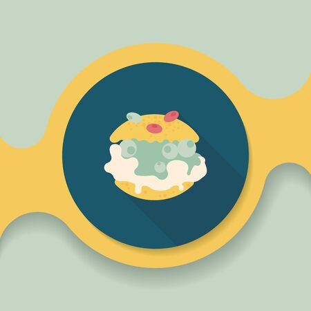 puffs: Cream puffs flat icon with long shadow,eps10