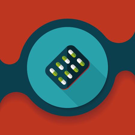 antibiotics: Pills flat icon with long shadow
