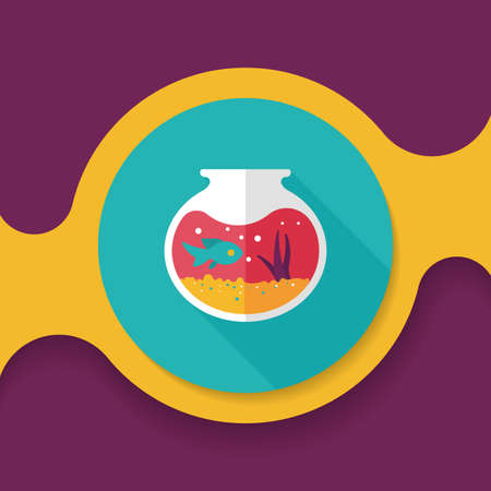 Pet fish bowl flat icon with long shadow Illustration