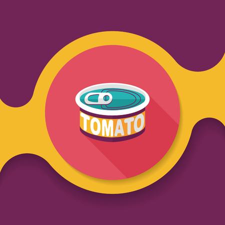 stoviglie pomodoro può icona piatto con una lunga ombra