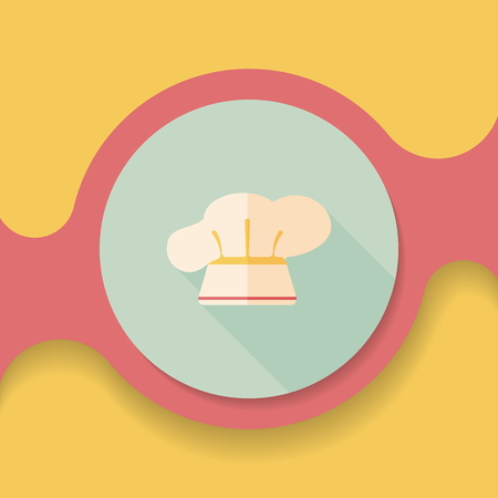 kitchener: kitchenware chef hat flat icon with long shadow Illustration