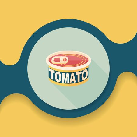 tinned: kitchenware tomato can flat icon with long shadow Illustration