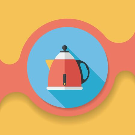 tea pot: kitchenware tea pot flat icon with long shadow