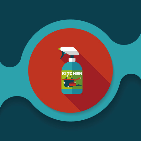 disinfectant: kitchenware bottle soap flat icon with long shadow Illustration