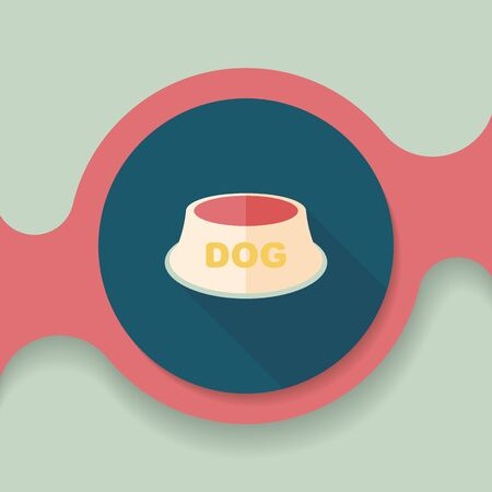 empty bowl: Pet dog bowl flat icon with long shadow