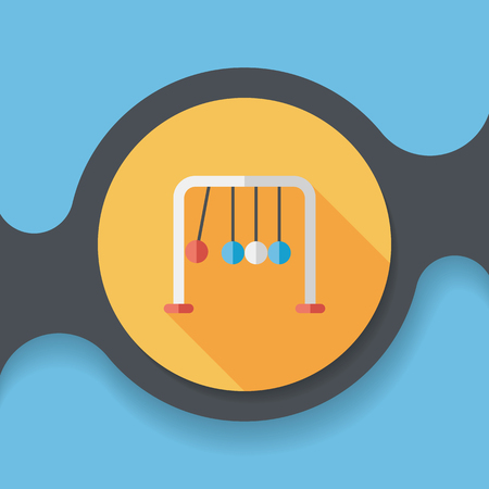 Newtons Cradle flat icon with long shadow,