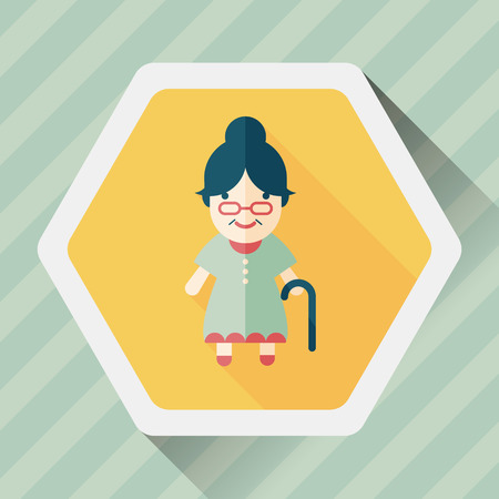 woman shadow: old woman flat icon with long shadow,