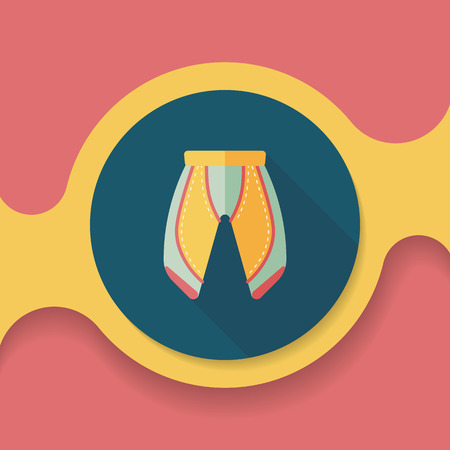cycling shorts: cycling shorts flat icon with long shadow, Illustration