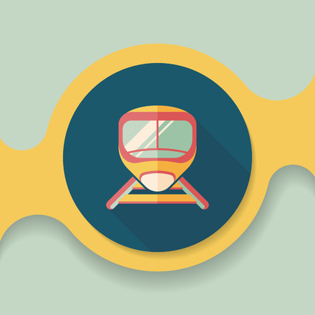 commute: speed train flat icon with long shadow
