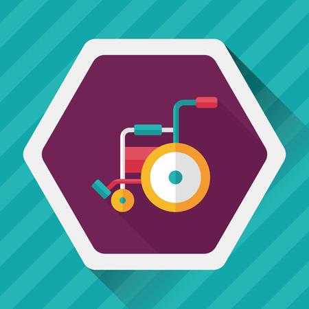paraplegico: Icono plana con silla de ruedas con una larga sombra,