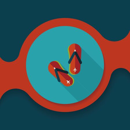 to flop: flip flop flat icon with long shadow Illustration