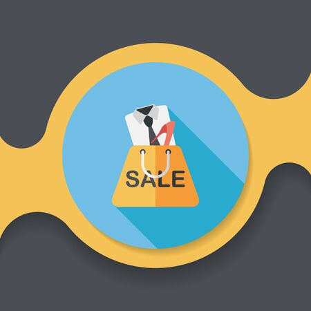 clothed: shopping suit flat icon with long shadow,