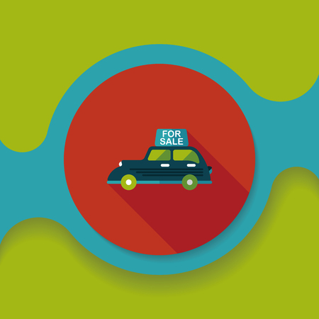 shopping sale car flat icon with long shadow,