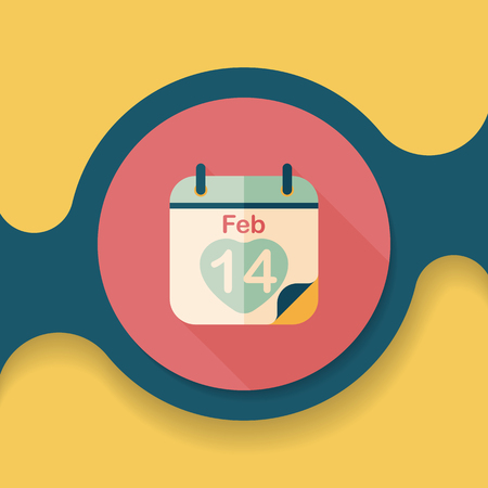 fourteen: Valentines Day February fourteen flat icon with long shadow, Illustration