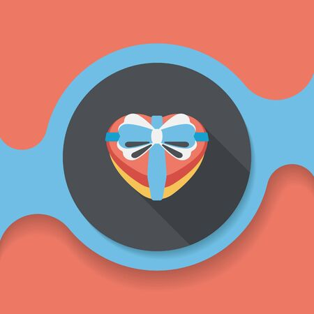 love hearts: Valentines Day present flat icon with long shadow, Illustration