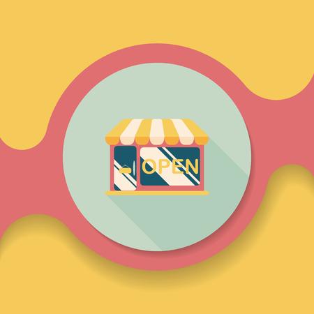 Courses emmagasiner icône plat avec ombre, Banque d'images - 52453590